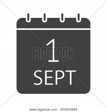 September 1st date glyph icon. Silhouette symbol. Back to school. Negative space. Vector isolated illustration