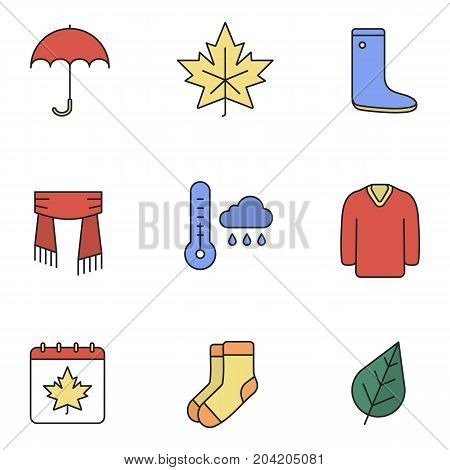 Autumn season color icons set. Umbrella, warm socks, maple leaf, watertight, scarf, sweater, autumn weather and calendar. Isolated vector illustrations