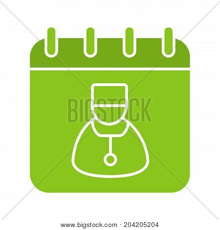Doctor visits days glyph color icon. Physician schedule. Calendar page with doctor. Silhouette symbol on white background. Negative space. Vector illustration