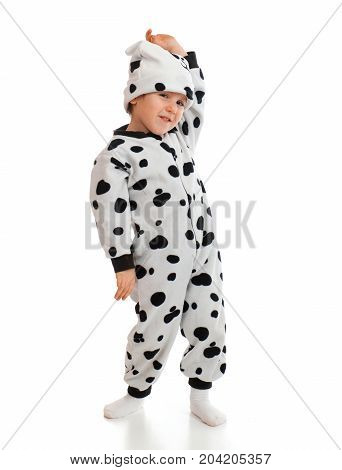Boy   Dressed In Dalmatian  Suit