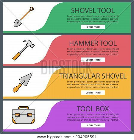Construction tools web banner templates set. Spade, triangular shovel, hammer, tool box. Website color menu items. Vector headers design concepts