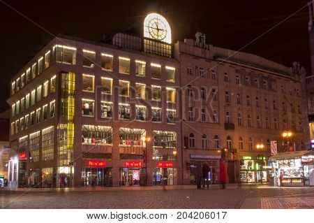 Prague, Czech Republic - January 24, 2015. Illuminated Buildings On Wenceslas Square. Old And New Bu