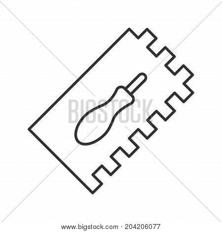 Rectangular notched trowel linear icon. Thin line illustration. Construction spatula. Contour symbol. Vector isolated outline drawing