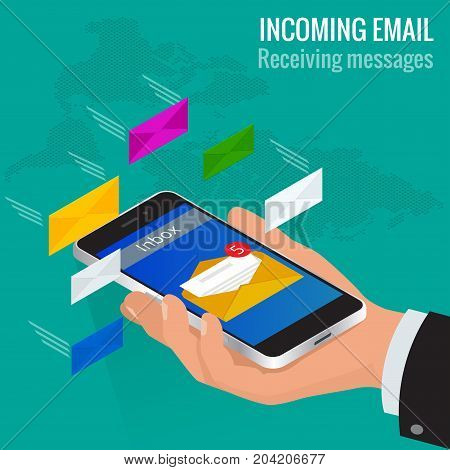 Man received an e-mail online on a mobile phone. Message online Incoming email isometric vector concept Receiving messages