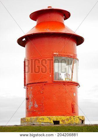 Lighthouse on Sugandisey Island, Stykkisholmur, Snaefellsnes peninsula, Iceland poster
