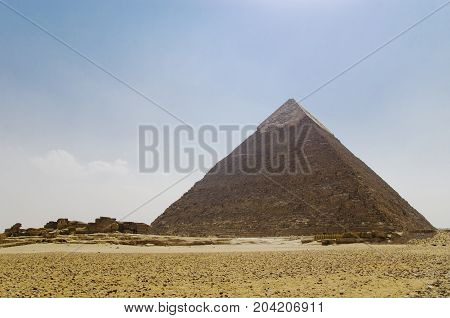 Pyramid of Khafre against the sky, archeology