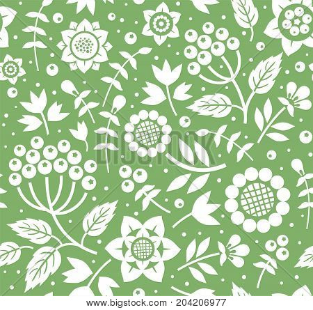 Berries and twigs, decorative background, seamless, green, monochrome, flat, vector. White twigs with berries and flowers on a green background. Floral seamless pattern.