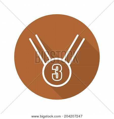 Bronze medal flat linear long shadow icon. 3rd place medal. Vector outline symbol