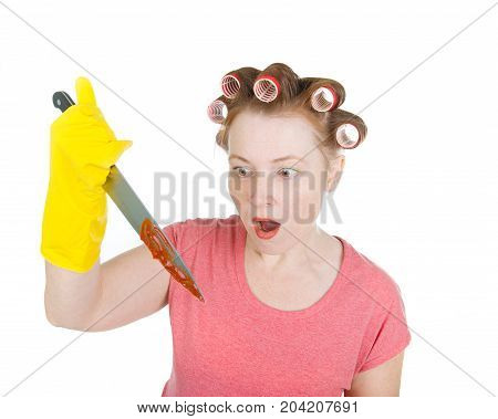 Aggressive Housewife  With Bloodstained  Knife.