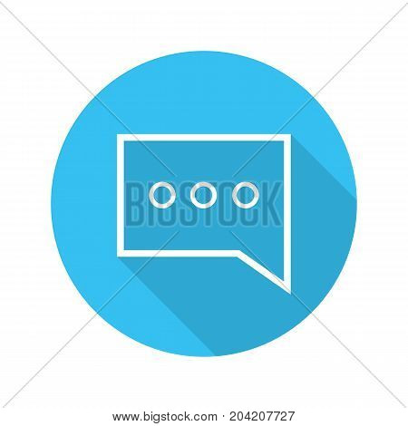 Chat box flat linear long shadow icon. Speech bubble. Vector outline symbol