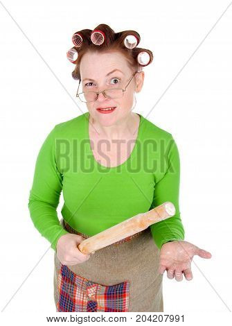 Angry Housewife On A White Background