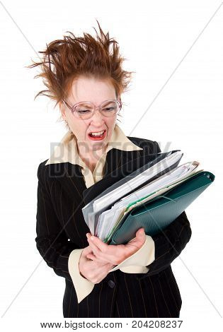 Stressed  Businesswoman With Huge Stack Of Paperwork