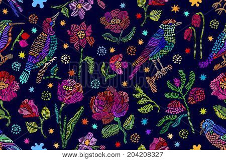 Seamless vector pattern with birds, rowan and flowers. Vintage motifs. Retro textile design collection. Colorful on dark.