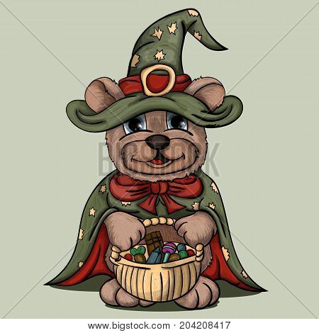 vector illustration little bear cub in a wizard costume keeps a basket with candies
