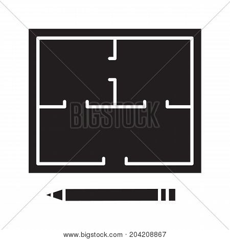 Floor plan glyph icon. Silhouette symbol. Flat blueprint with pencil. Apartment layout. Negative space. Vector isolated illustration