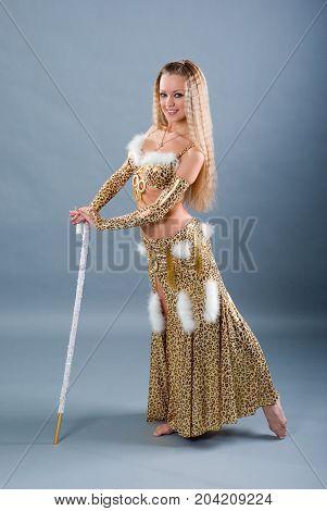 Fashion girl in belly dance dress  model
