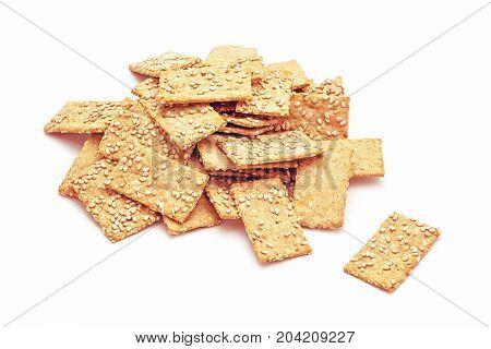 sesame seed spelt chips isolated studio shot