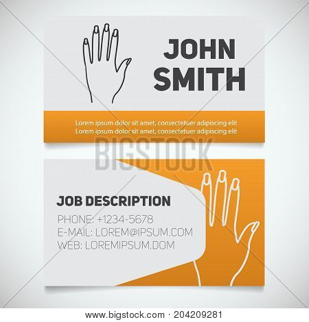 Business card print template with manicure logo. Manager. Manicurist. Woman's hand with manicure. Stationery design concept. Vector illustration