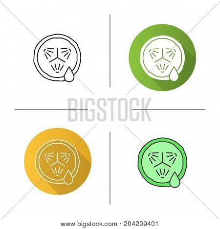 Cucumber slice with juice icon. Flat design, linear and color styles. Spa. Cucumber facial mask. Isolated vector illustrations
