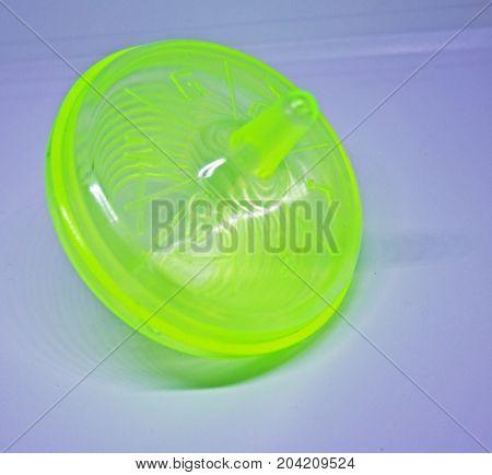 Plastic green hanukkah spinning for celebrating holiday