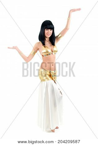 Bellydance woman in yellow egypt style. Isolated on white backgroun