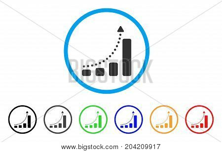 Bar Chart Trend icon. Vector illustration style is a flat iconic bar chart trend grey rounded symbol inside light blue circle with black, gray, green, blue, red, orange color versions.