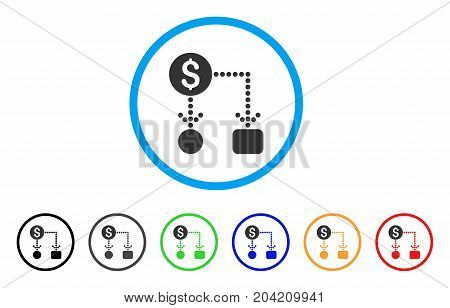 Cashflow icon. Vector illustration style is a flat iconic cashflow grey rounded symbol inside light blue circle with black, gray, green, blue, red, orange color additional versions.