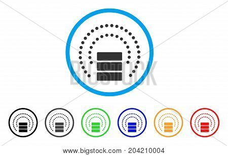 Database Sphere Shield icon. Vector illustration style is a flat iconic database sphere shield gray rounded symbol inside light blue circle with black, gray, green, blue, red,