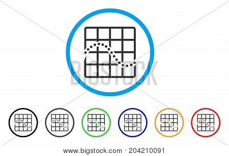 Function Chart icon. Vector illustration style is a flat iconic function chart gray rounded symbol inside light blue circle with black, gray, green, blue, red, orange color versions.