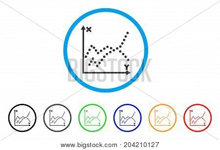 Functions Plot icon. Vector illustration style is a flat iconic functions plot grey rounded symbol inside light blue circle with black, gray, green, blue, red, orange color variants.