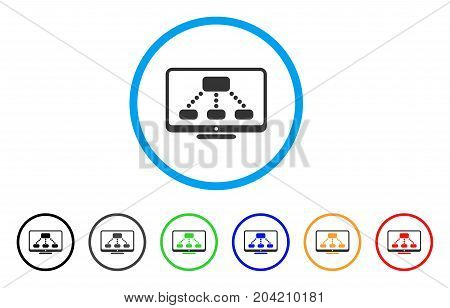Hierarchy Monitor icon. Vector illustration style is a flat iconic hierarchy monitor gray rounded symbol inside light blue circle with black, gray, green, blue, red, orange color variants.