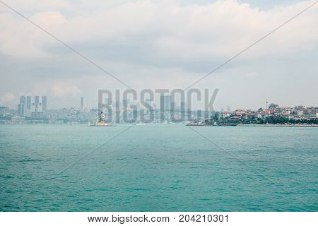 Asian and European parts of Istanbul. On the right is the Asian part of the city, on the left is the European part. A beautiful view of the city.