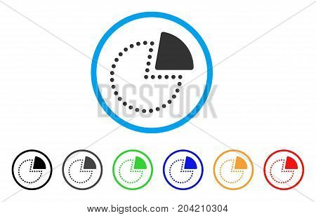 Pie Chart icon. Vector illustration style is a flat iconic pie chart gray rounded symbol inside light blue circle with black, gray, green, blue, red, orange color versions.