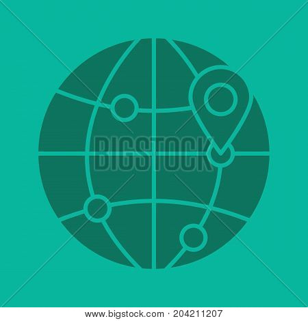 Flight destinations glyph color icon. Worldwide travel locations silhouette symbol. Globe model with route points and map pinpoint. Negative space. Vector isolated illustration
