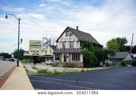 JOLIET, ILLINOIS / UNITED STATES - JULY 21, 2017: One may purchase vinyl windows and supplies at Acme Vinyl Windows, Inc., on Plainfield Road.