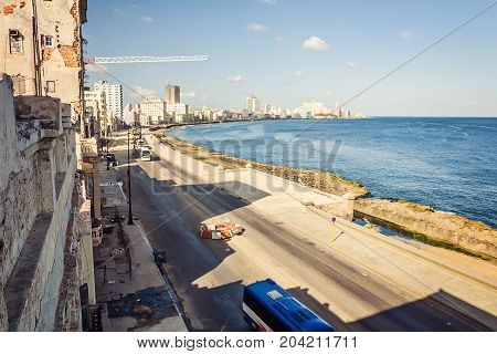 Cuba, Havana, Embankment Malecon, Fascinating Cloudscape, Skyline, Dawn