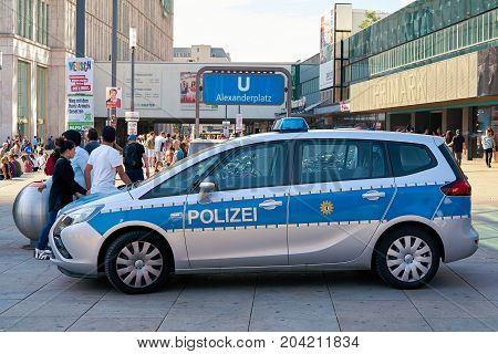 BERLIN, GERMANY - AUGUST 08, 2017: Mobile police station to increase police presence and as a point of contact for crime victims at the Alexanderplatz in Berlin