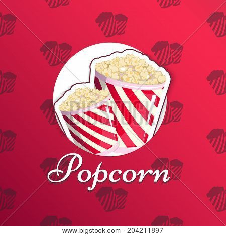 Popcorn is isolated in a striped logo logo emblem for your produce, an appetizer bucket when you watch movies. Label, wrap Miniature fast food Vector illustration for your project.
