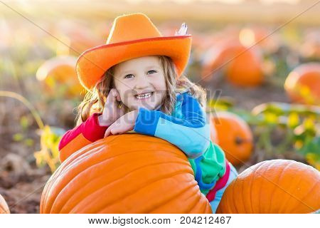 Child Playing On Pumpkin Patch