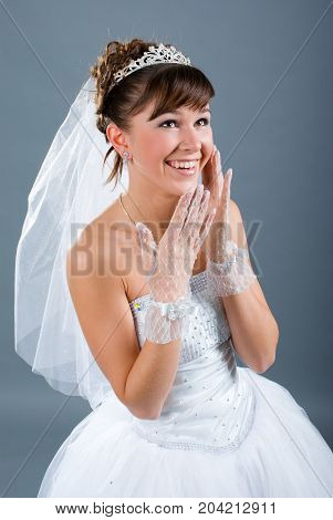 Beauty Young Bride Dressed In  Wedding Dress