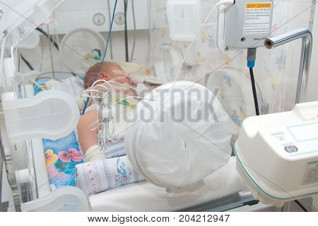 newborn baby sleeping in an incubator in hospital.branch to reanimations