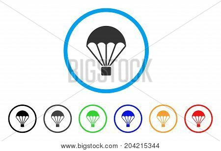 Parachute icon. Vector illustration style is a flat iconic parachute grey rounded symbol inside light blue circle with black, gray, green, blue, red, orange color versions.