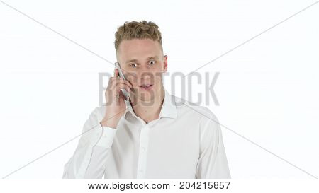 Rejecting, Denying Young Man On White Background