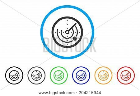 Radar icon. Vector illustration style is a flat iconic radar gray rounded symbol inside light blue circle with black, gray, green, blue, red, orange color versions.