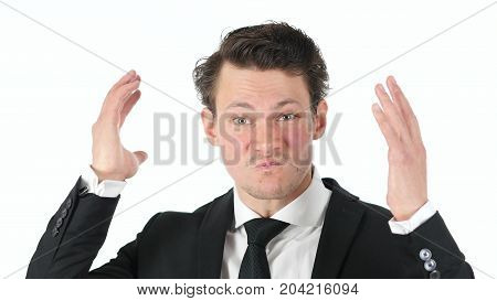 Angry, Abusive Businessman Isolated On White Background