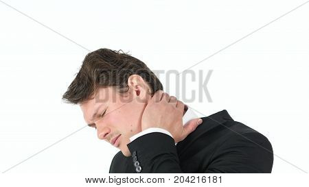 Tired Businessman With Neck Pain Isolated On White Background