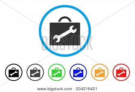 Repair Equipment Case icon. Vector illustration style is a flat iconic repair equipment case gray rounded symbol inside light blue circle with black, gray, green, blue, red, orange color variants.