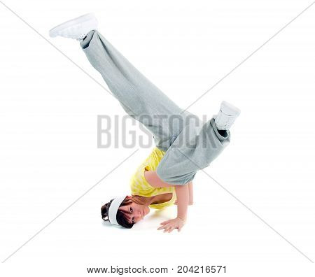 cool looking dancer white posing . breakdance