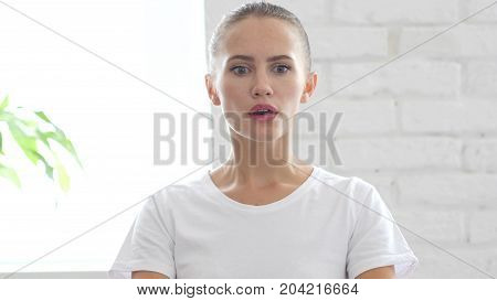 Portrait Of Beautiful Young Woman In Shock, Disastors And Problems