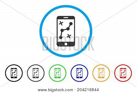 Route Smartphone icon. Vector illustration style is a flat iconic route smartphone grey rounded symbol inside light blue circle with black, gray, green, blue, red, orange color versions.